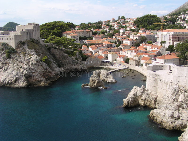 Dubrovnik (Croatia). View of the north wall and houses in Dubrovnik (Croatia