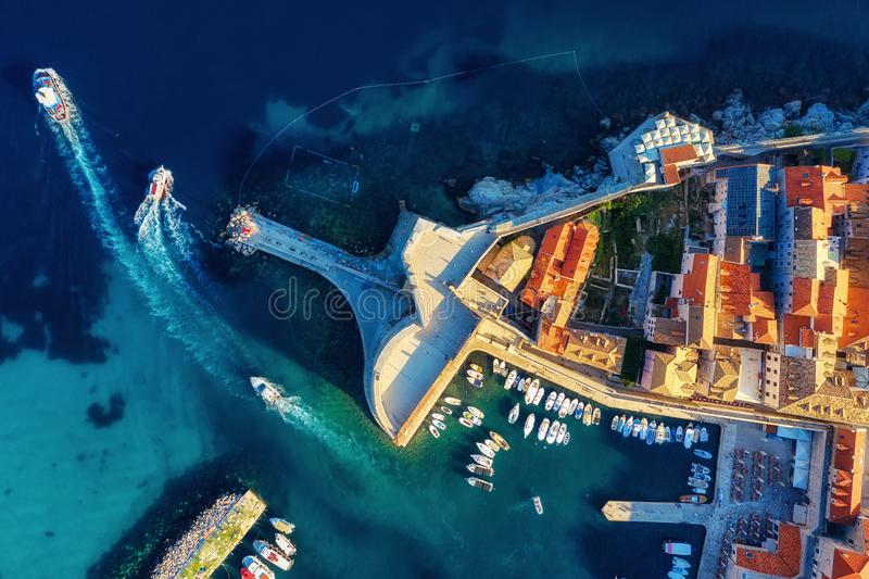 Dubrovnik, Croatia. Aerial view on the old town. Vacation and adventure. Town and sea. Top view from drone at on the old castle an. D azure sea. Travel - image royalty free stock photography