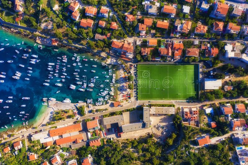 Dubrovnik, Croatia. Aerial view on the town and football stadium. Vacation and adventure. Top view from air. Travel - image stock images