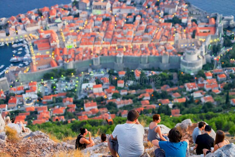 People looking at panorama of Old town of Dubrovnik royalty free stock image