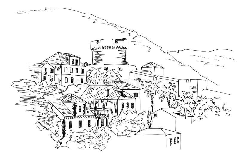 Dubrovnik. Croatia. Black and white sketch. vector illustration