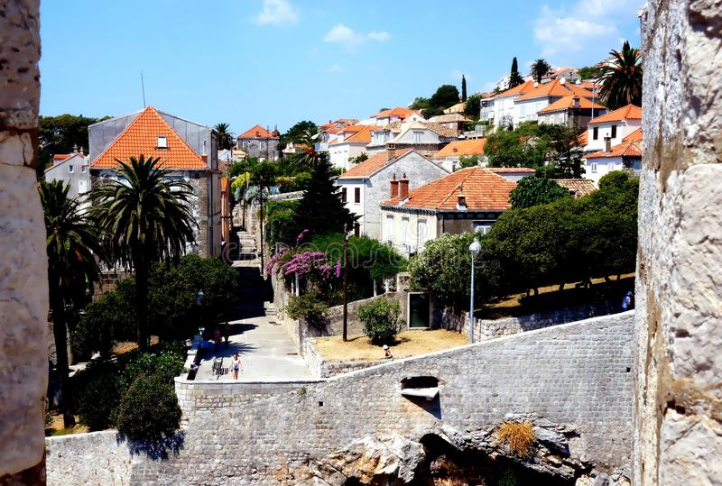 Dubrovnik Croatia. Fragment of city wall of Dubrovnik Croatia royalty free stock photo
