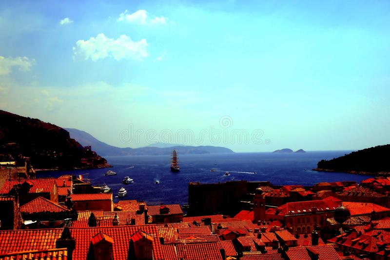 Dubrovnik and Croatia hills skyline. Coming upper and upper it is nice to enjoy magnificent view of old city of Dubrovnik including gorgeous scenery the sea bay royalty free stock image