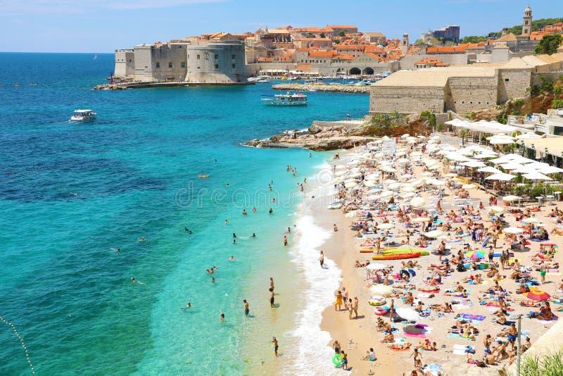 DUBROVNIK, CROATIA - JULY 12, 2019: Aerial view of Dubrovnik old town and Banje beach, Adriatic sea stock photo
