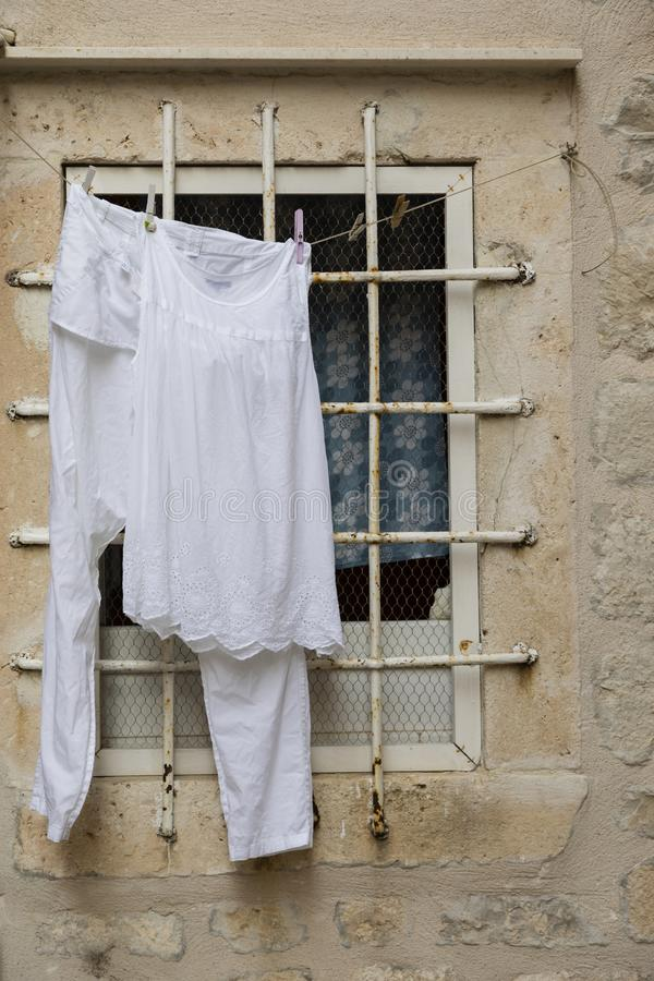 Dubrovnik, Croatia, July 20 2017: Laundry hung on a clothes line stock photo
