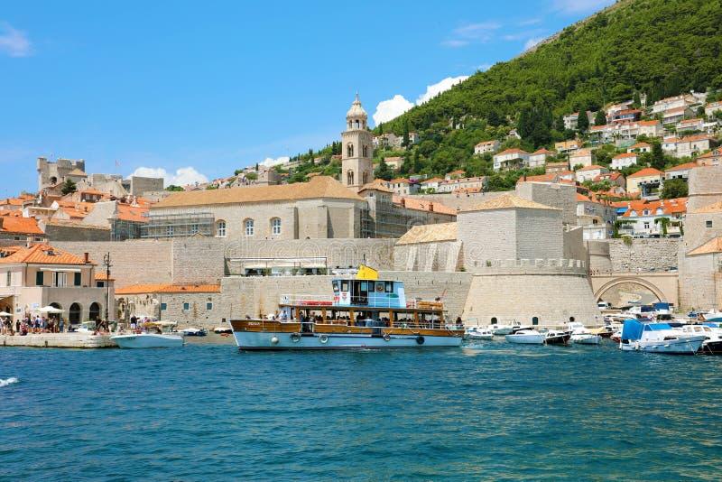 DUBROVNIK, CROATIA - JULY 12,2019: Dubrovnik old town harbour, Croatia stock photo