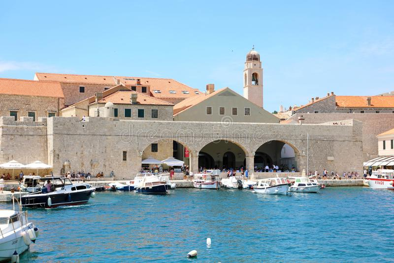 DUBROVNIK, CROATIA - JULY 12,2019: Dubrovnik old town harbour, Croatia stock images