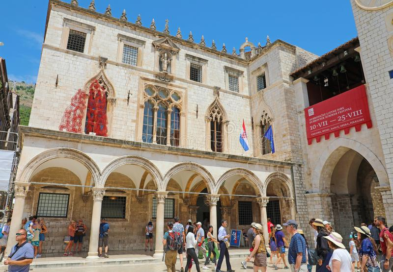 DUBROVNIK, CROATIA - JULY 12,2019: The Sponza Palace, also called Divona, is a 16th-century palace in Dubrovnik, Croatia. It is royalty free stock image