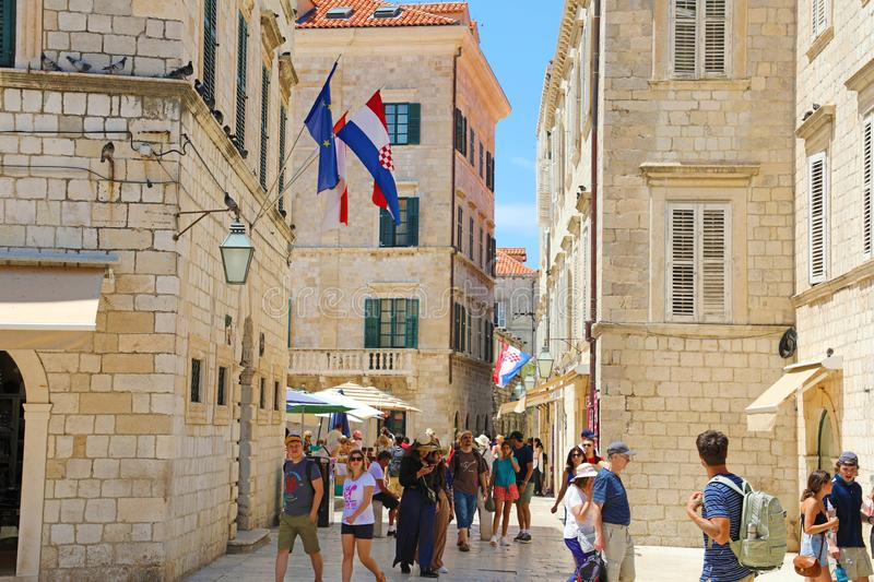 DUBROVNIK, CROATIA - JULY 12,2019: tourists visiting Dubrovnik old town, Croatia royalty free stock photography