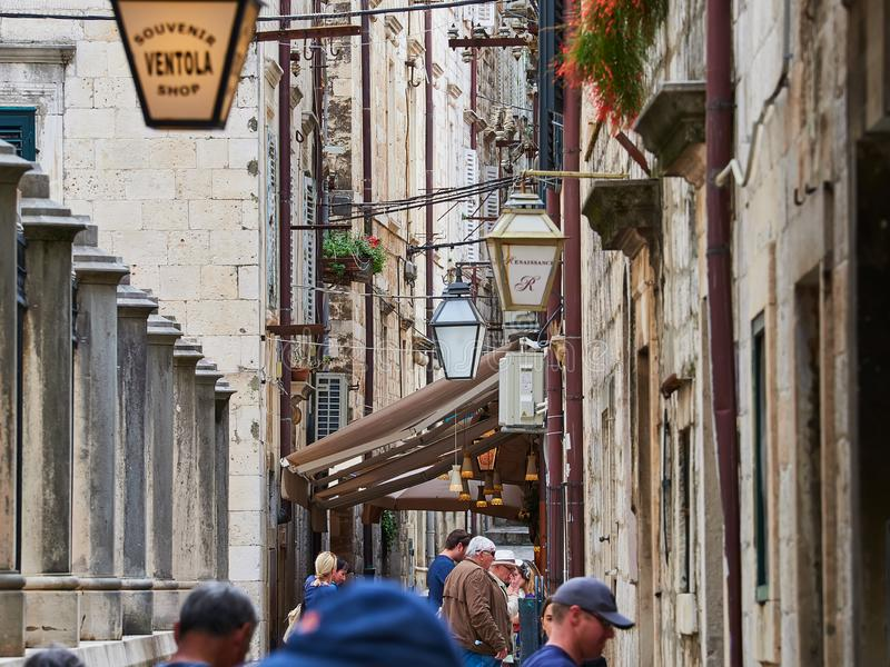 Dubrovnik, CROATIA - MAY 3, 2019: Famous european travel destination in Croatia, Dubrovnik old town fortress. stock photos