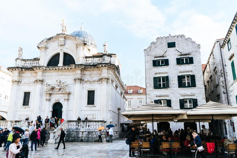 DUBROVNIK/CROATIA - May 01, 2019: Many tourists walk on one of the major streets Stradun in Dubrovnik old town on sunny summer. Day stock photos