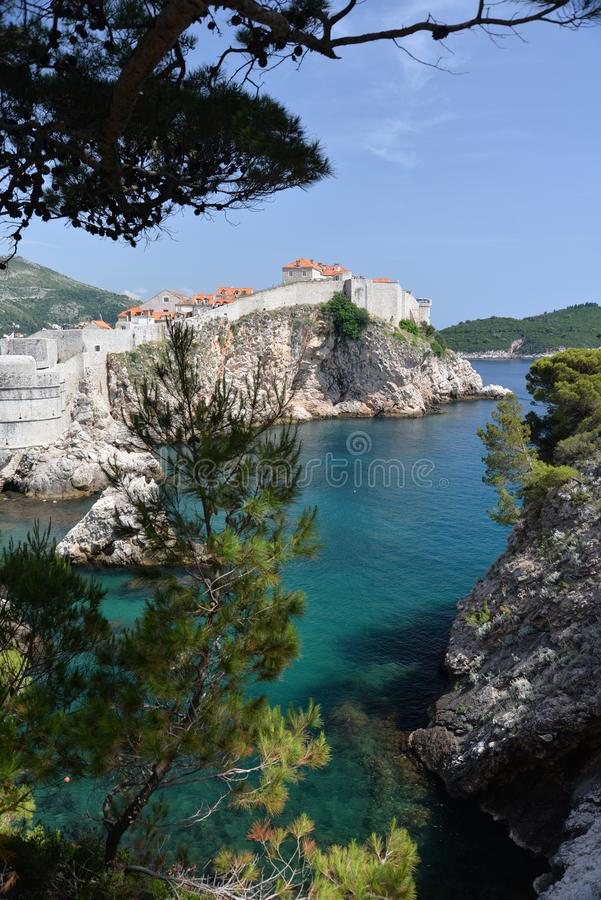 Dubrovnik, Croatia, the old harbor. The old harbour of the historic city of Dubrovnik on Adriatic coast in Croatia royalty free stock photography
