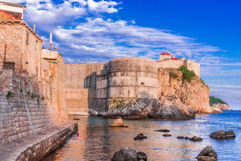 Dubrovnik, Croatia, Ragusa medieval city walls, Adriatic Sea royalty free stock photography