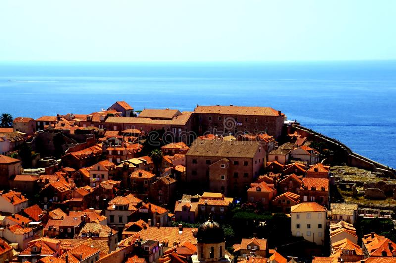 Dubrovnik Croatia skyline. Coming upper and upper it is nice to enjoy gorgeous views of the sea bay with small and big ships and boats and magnificent old city royalty free stock images