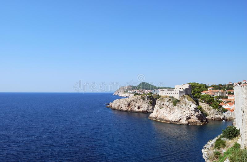 Dubrovnik. Croatia, Southern Dalmatia, View of the Dubrovnik fortress stock image