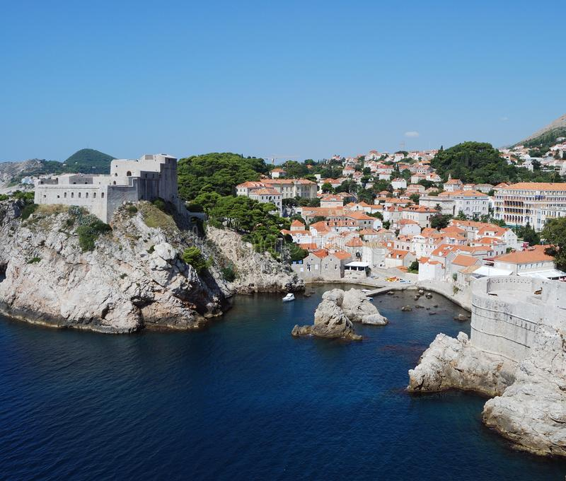 Dubrovnik. Croatia, Southern Dalmatia, View of the Dubrovnik fortress stock photography