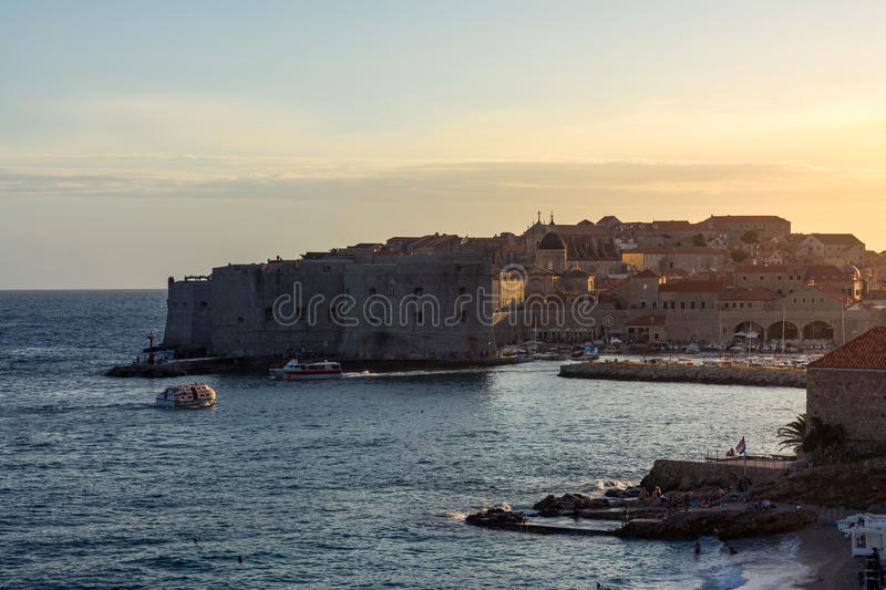 Dubrovnik Croatia During Sunset View Over Old Town Cityscape Beautiful European Vacation Destination Historic Fortress royalty free stock image