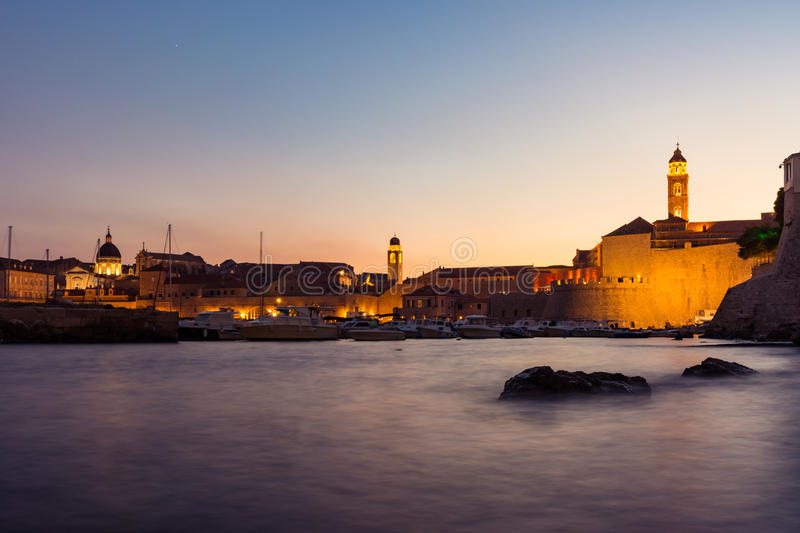 Dubrovnik Croatia During Sunset View Over Old Town Cityscape Beautiful European Vacation Destination Historic Fortress stock image
