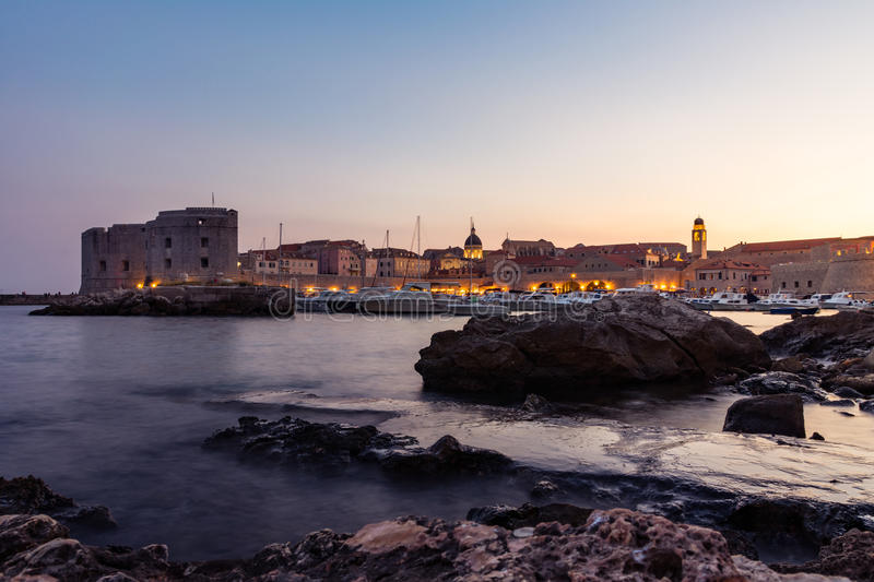 Dubrovnik Croatia During Sunset View Over Old Town Cityscape Beautiful European Vacation Destination Historic Fortress royalty free stock photography