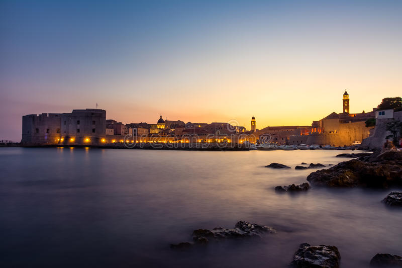Dubrovnik Croatia During Sunset View Over Old Town Cityscape Beautiful European Vacation Destination Historic Fortress royalty free stock images