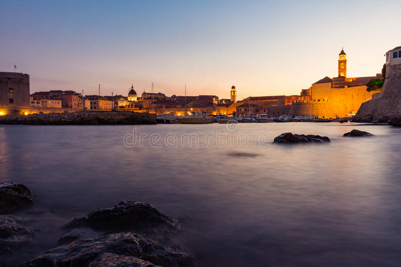 Dubrovnik Croatia During Sunset View Over Old Town Cityscape Beautiful European Vacation Destination Historic Fortress royalty free stock photos