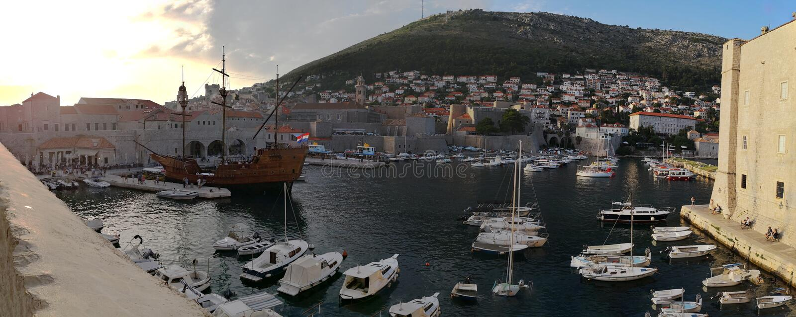 Dubrovnik, Dalmatia/Croatia; 06/04/2018: a panoramic view of the old port of Dubrovnik old town royalty free stock images
