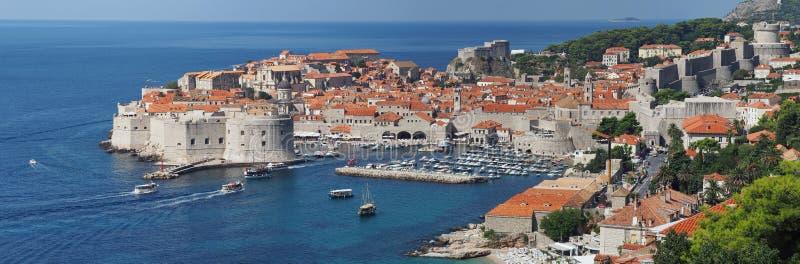 Dubrovnik Kroatien, panorama av den medeltida staden arkivbilder