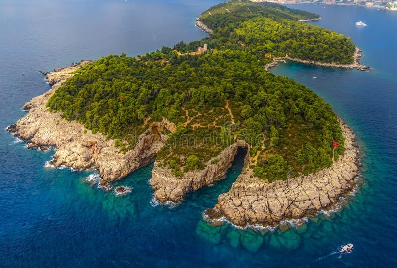Dubrovnik - Lokrum-antenne royalty-vrije stock afbeelding