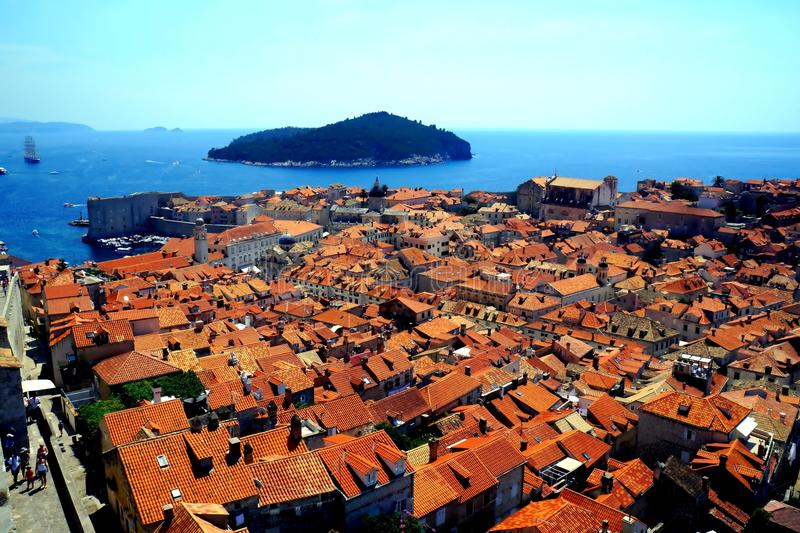 Dubrovnik and Lokrum island Croatia. Coming upper and upper it is nice to enjoy gorgeous views of the sea bay with small and big ships and boats and magnificent stock image