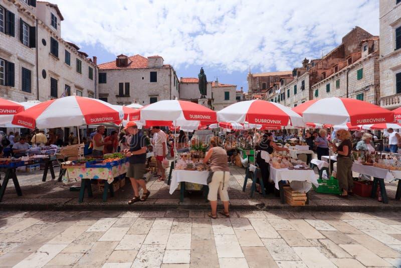 Dubrovnik market. Dubrovnik old town daily fresh market royalty free stock photo