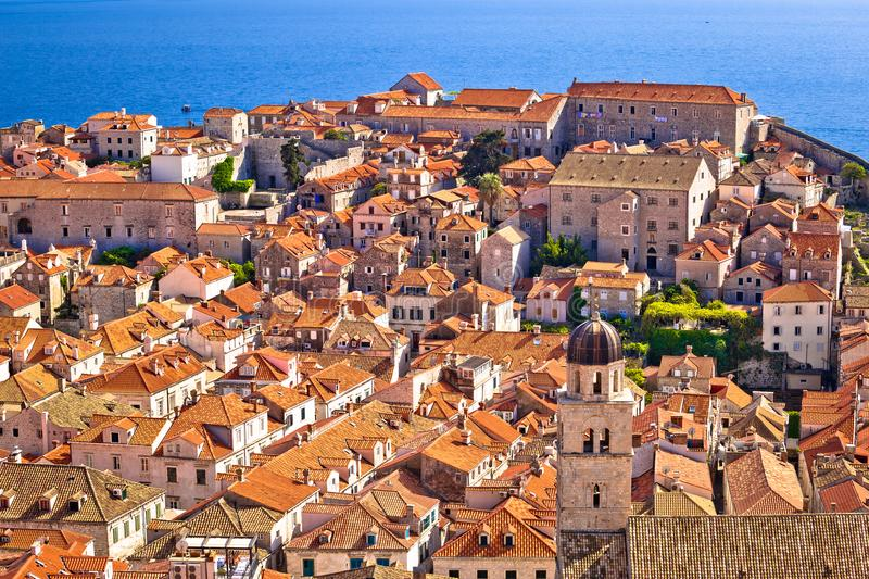 Dubrovnik old center rooftops view from city walls stock photo