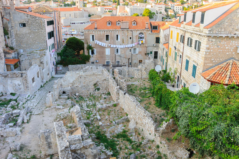 Dubrovnik old city ruins. DUBROVNIK, CROATIA - AUGUST 31, 2009: Ruins of houses in the old city royalty free stock photos