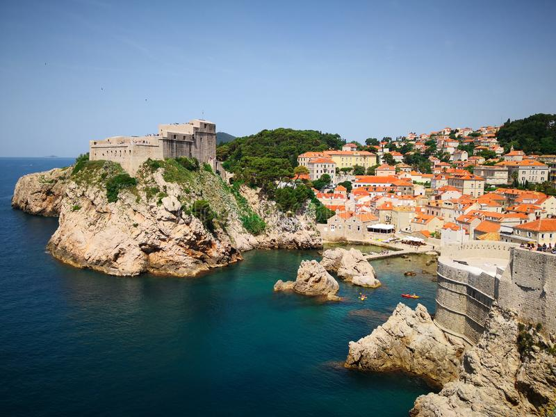 Dubrovnik old town with blue sky and sea. Overview stock images