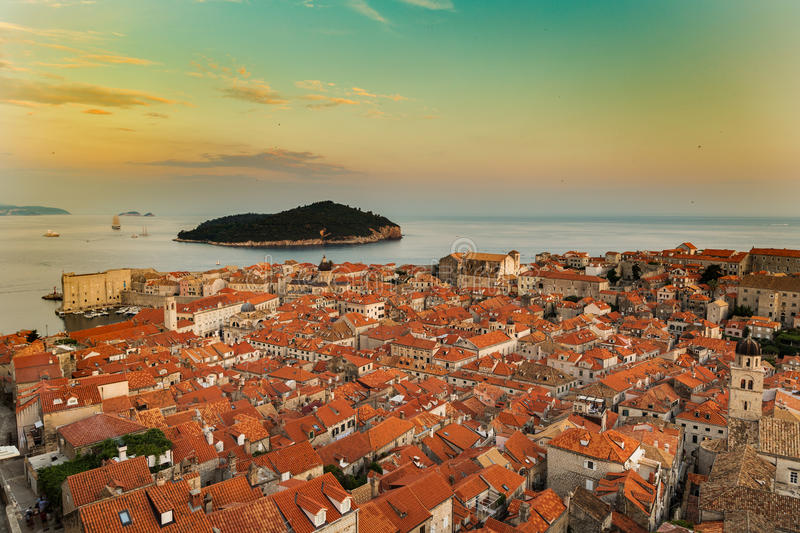 Dubrovnik old town in croatia at sunset stock photo
