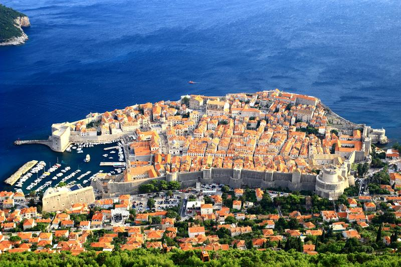 Dubrovnik old town, world famous touristic destination in Croatia. Dubrovnik old town, panoramic view. World famous touristic destination in Croatia stock photography