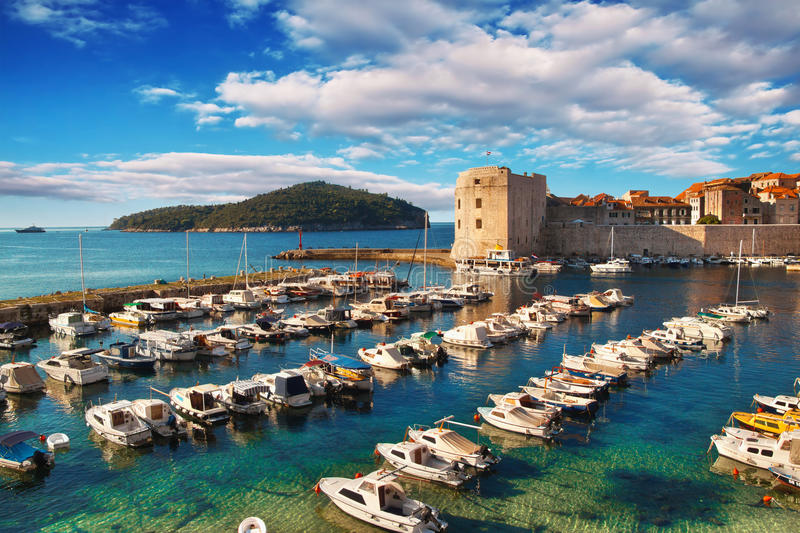 Dubrovnik old town pier. At sunrise stock photo