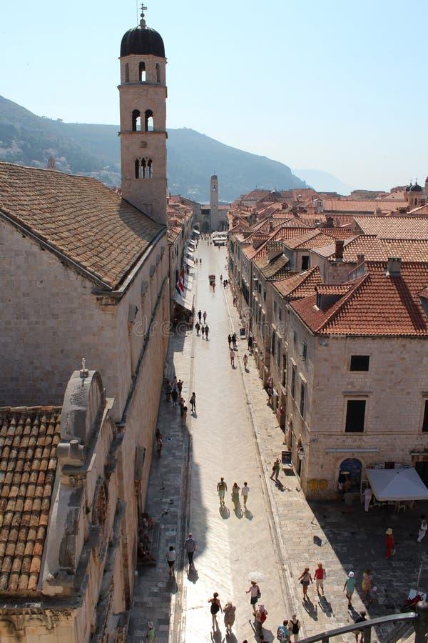 Dubrovnik. Old Town. Street Stradun or Placa. Dubrovnik. Roofs of the old town. the main street in the old town Street Stradun or Placa. walking passers stock image
