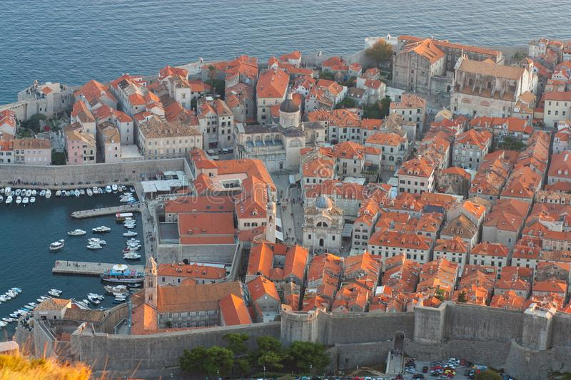 Dubrovnik old town view from the Fort Imperial. Dubrovnik in Croatia. Pearl of the Adriatic sea. Game of thrones series were filmed in this beautiful town royalty free stock image