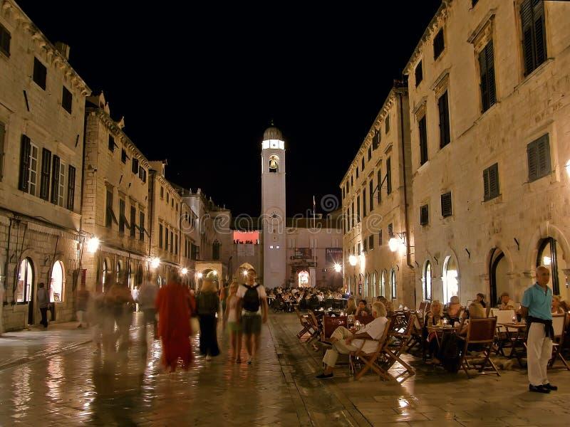Dubrovnik par nuit (Stradun) 1 photos stock