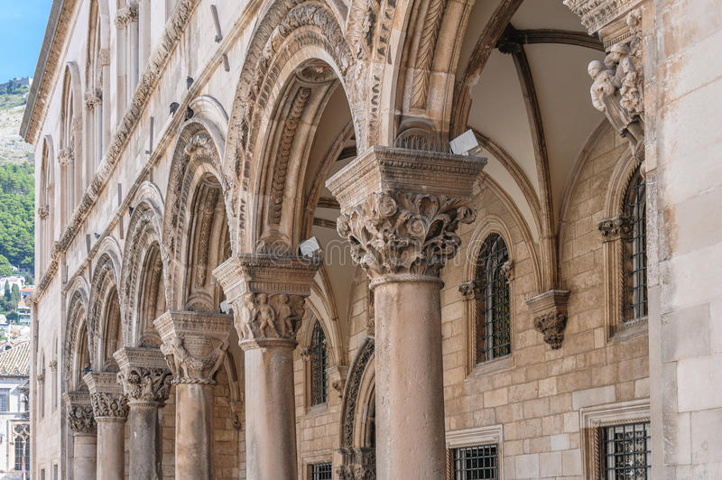 Dubrovnik Rector's Palace. Rector's palace porch and vaulted arcade with Renaissance styled individualized column capitals royalty free stock photos