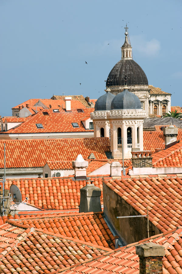 Dubrovnik red roofs. Red tiled roofs of old city Dubrovnik, Croatia stock photography