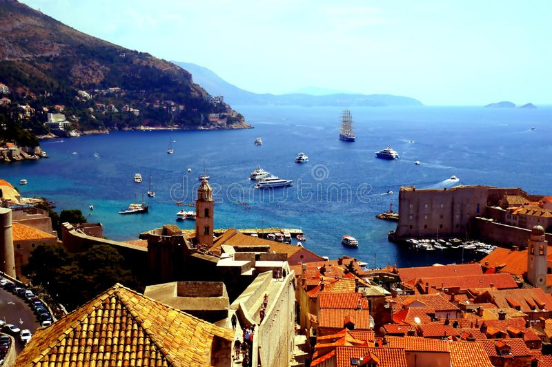 Dubrovnik sea bay Croatia. Coming upper and upper it is nice to enjoy gorgeous views of the sea bay with small and big ships and boats and magnificent old city stock photos
