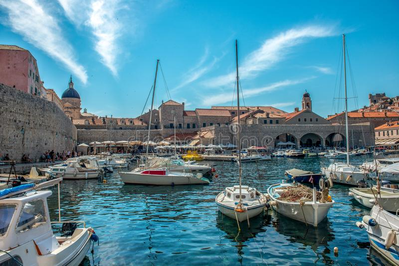 Dubrovnik, small yacht marina royalty free stock photography