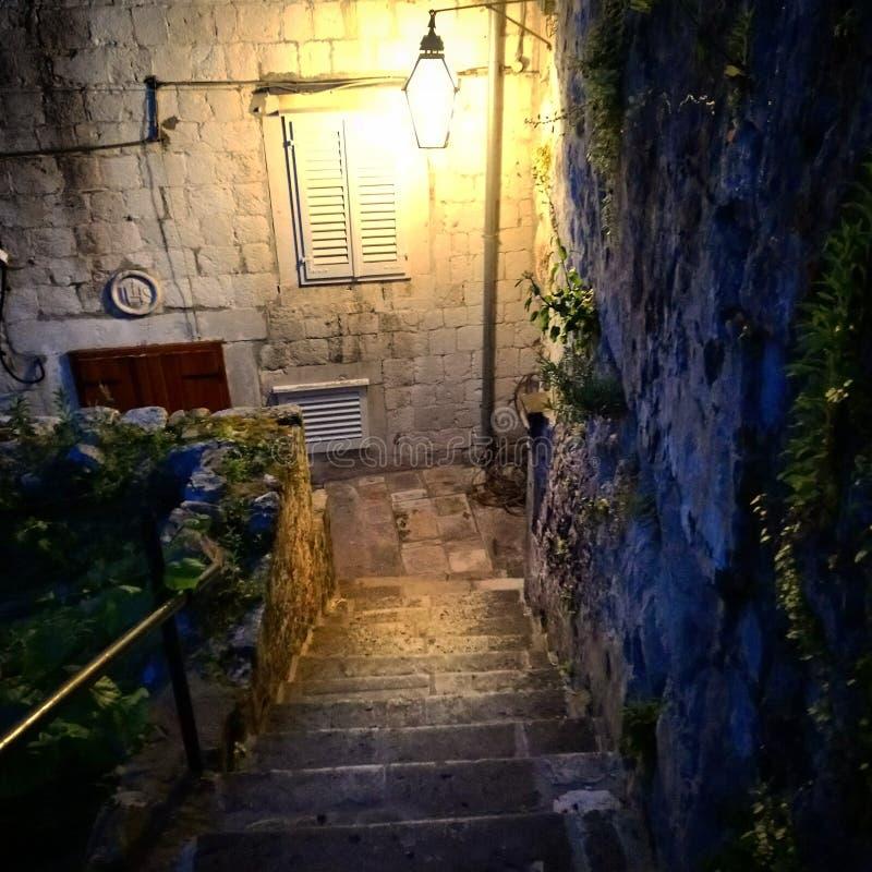 Dubrovnik. Stairs, stairway, lantern, architecture, history, walled city, ragusa, terracotta, Croatia, Dubrovnik royalty free stock photo