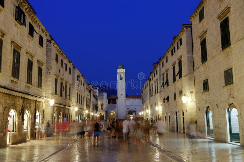Dubrovnik stradun or placa main street, South Dalmatia region, Croatia, hdr stock image