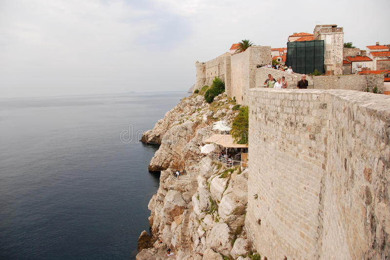 Dubrovnik walls. Mighty walls of the old town of Dubrovnik, Croatia by the Adriatic sea stock image