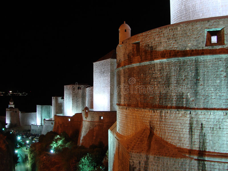 Dubrovnik Walls by night landscape royalty free stock image