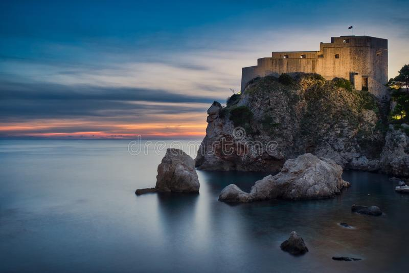 Dubrovnik & Zonsondergangtijd royalty-vrije stock foto's