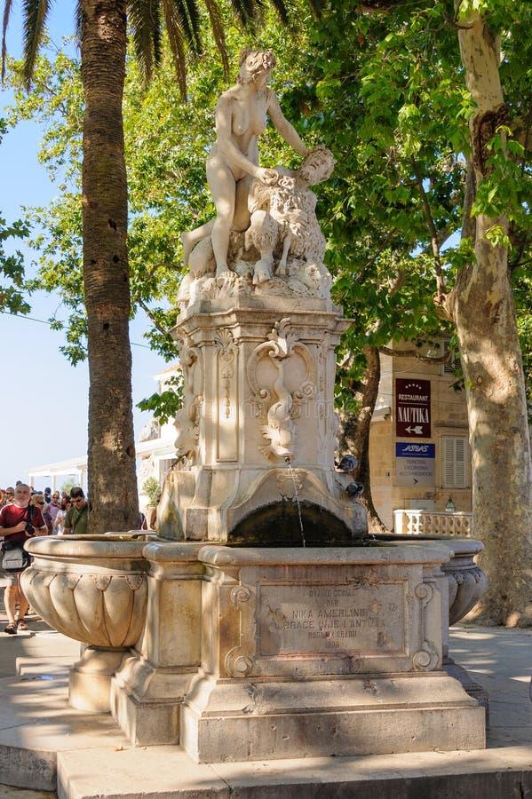 Dubrovnikstandbeeld van Pan And Nymph stock afbeelding