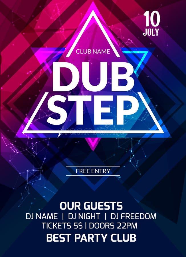 Dubstep党飞行物海报 未来派俱乐部飞行物设计模板 DJ广告,数字式创造性的俱乐部intertainment 向量例证